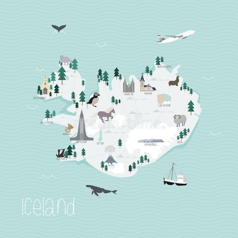 Cartoon map of Iceland. Flat vector illustration of Icelandic tourist attractions and nature. Business travel cartography concept royalty free illustration