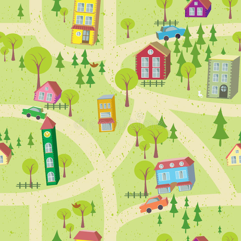 Cartoon map seamless pattern with houses and roads stock illustration