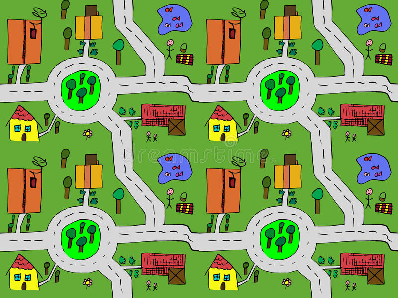 Cartoon map seamless stock illustration