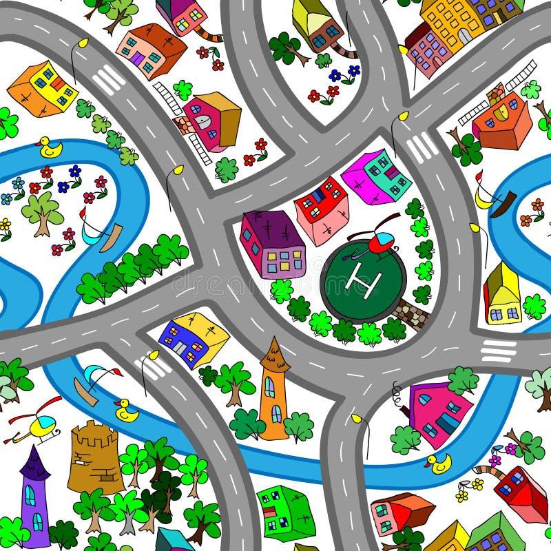 Cartoon map seamless pattern. vector illustration