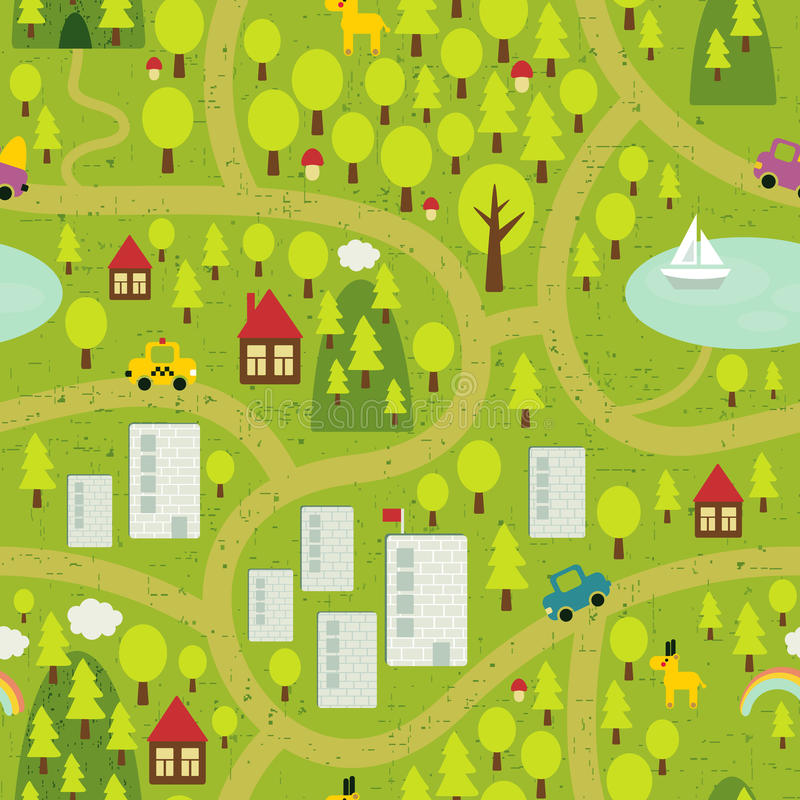 Cartoon map of small town and countryside. vector illustration