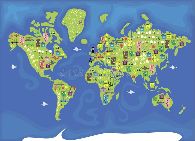 Cartoon map of the world in vector stock vector illustration of download cartoon map of the world in vector stock vector illustration of children auto gumiabroncs Choice Image