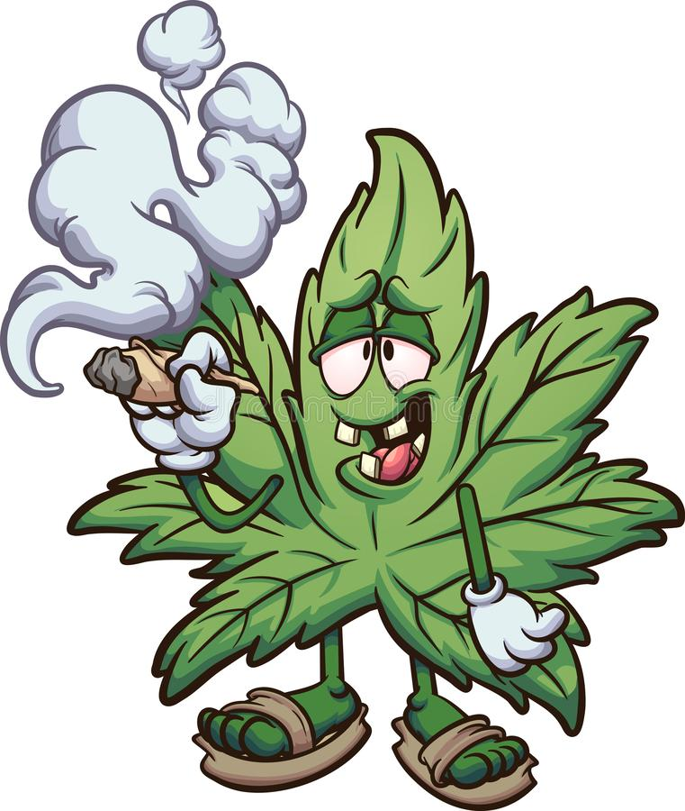 Free Cartoon Marijuana Plant Smoking A Joint Stock Photo - 156802680