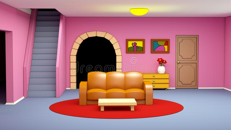 Cartoon Marina\'s Living Room Stock Illustration - Illustration of ...