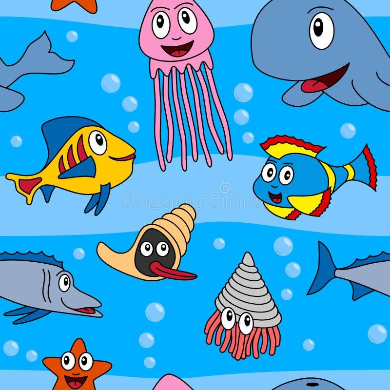 Cartoon Marine Animals Seamless [1] royalty free illustration