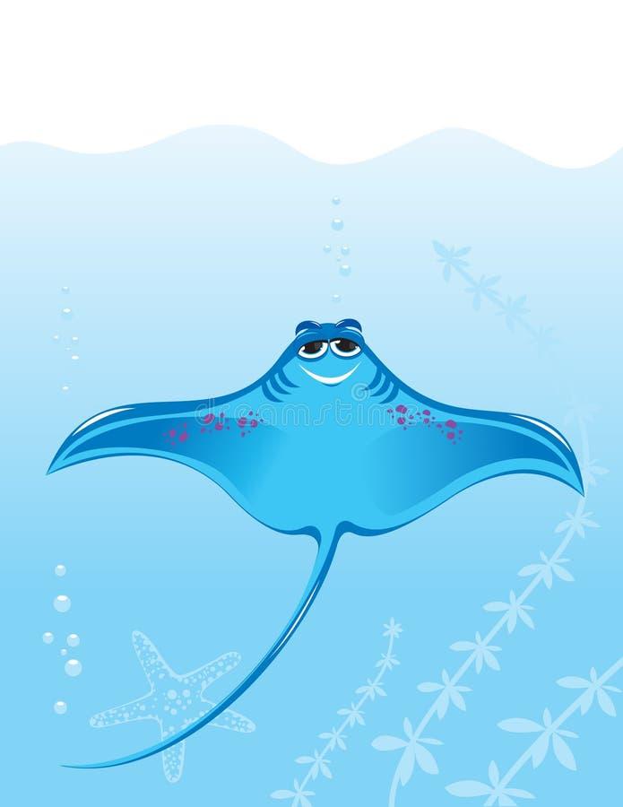 Cartoon marine stingray. Illustration on the background of the sea vector illustration