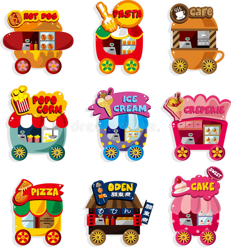 Cartoon Market Store Car Icon Collection Royalty Free Stock Image