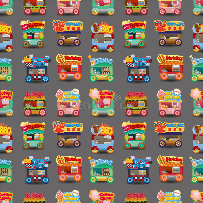 Cartoon market store car seamless pattern royalty free illustration