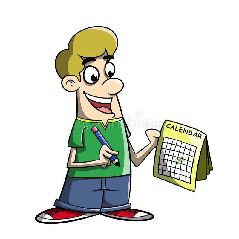 Cartoon marking day on a calendar royalty free stock image