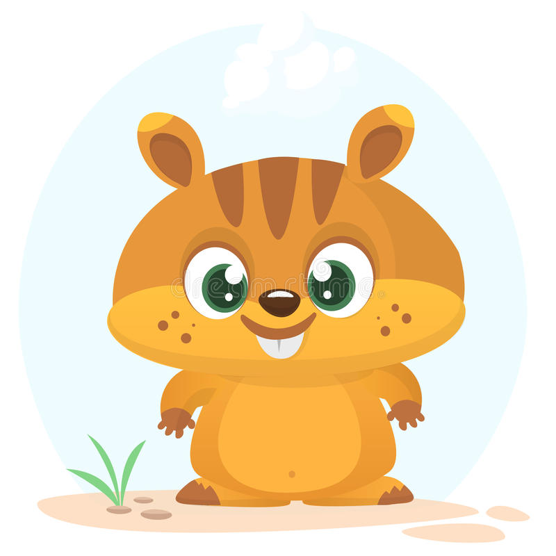 Cartoon marmot icon. Vector illustration of groundhog or chipmunk isolated. stock illustration