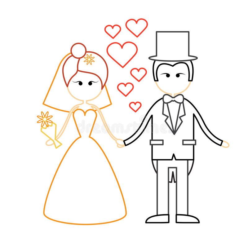 Free Cartoon Marriage Couple Fiance And Bride Wear Wedding Dress Holding Hands Royalty Free Stock Photo - 77501785