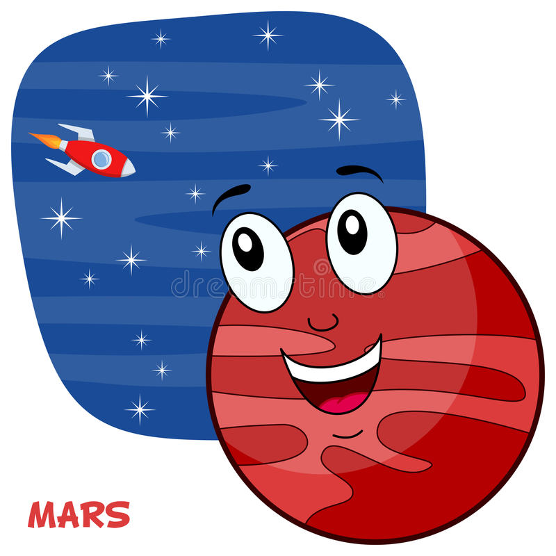 Cartoon Mars Planet Character stock illustration