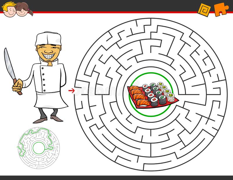 Cartoon maze game with chef and sushi. Cartoon Illustration of Education Maze or Labyrinth Activity Game for Children with Chef and Sushi stock illustration