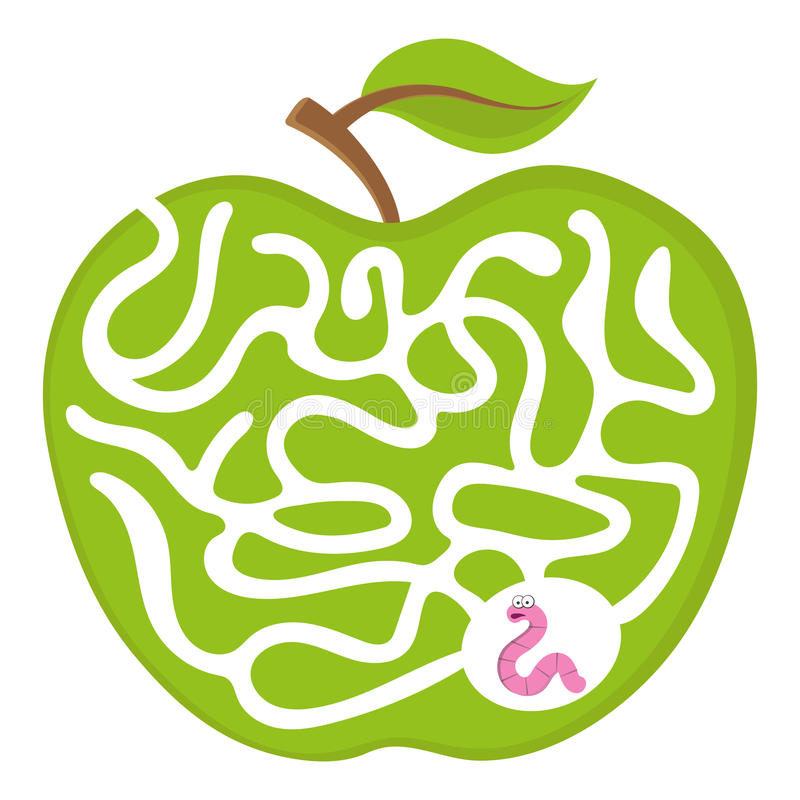 Free Cartoon Maze Game For Kids Num.04 Worm With Apple Labyrinth Vector Puzzle Illustration Stock Photography - 87797192
