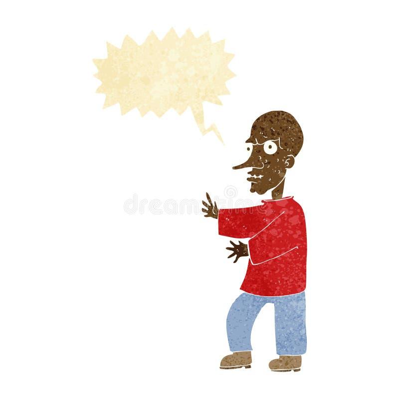 Cartoon mean looking man with speech bubble vector illustration