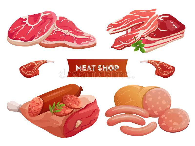 Cartoon meat products and fresh meat vector isolated on white background. Meat ribs delicious, fresh beefsteak illustration royalty free illustration