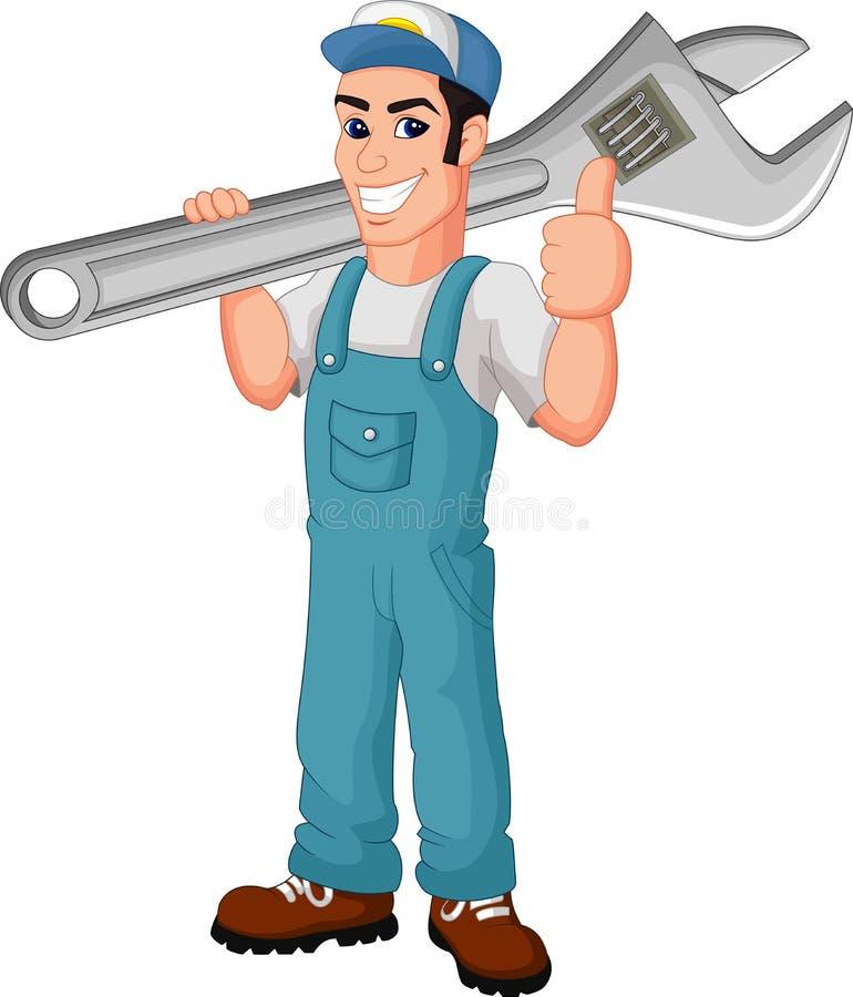 Cartoon mechanic cartoon holding a huge wrench stock illustration