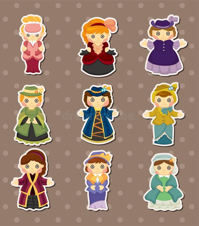 Download Cartoon Medieval Beautiful Girls Stickers Stock Vector
