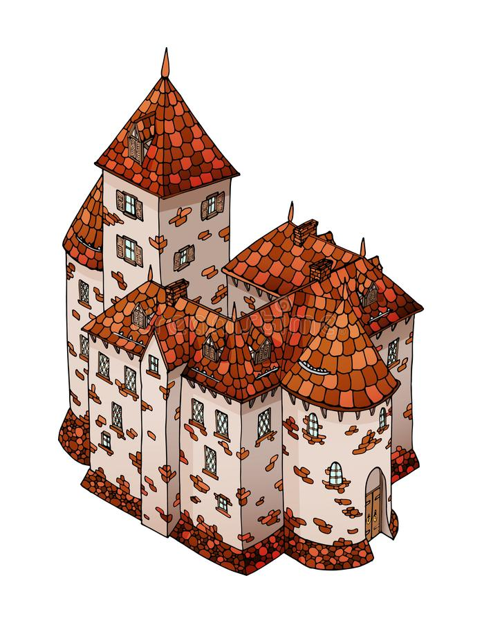 Cartoon Medieval European knight castle. Stone building the fortification. Cartoon Medieval European knight tower. Stone building the fortification of old town royalty free illustration