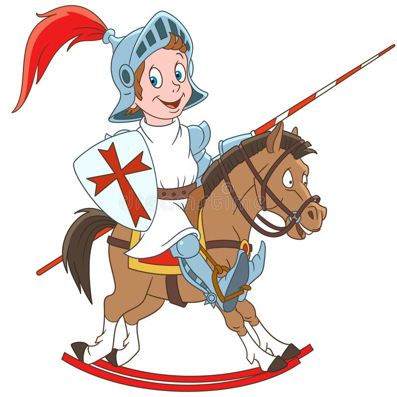 Cartoon medieval knight riding a horse stock image