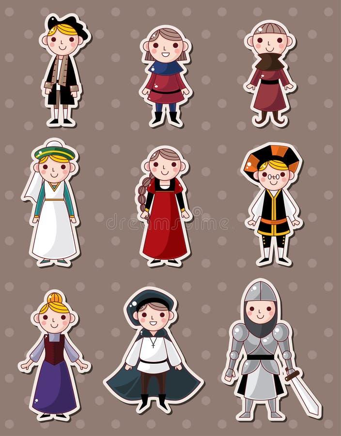 Cartoon medieval people stickers royalty free illustration
