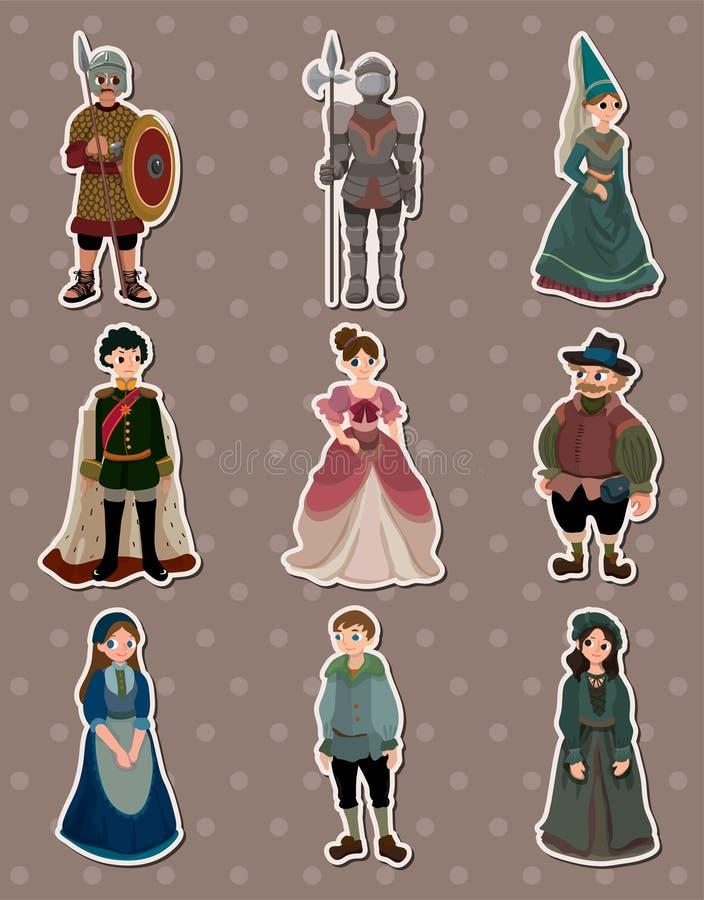 Cartoon Medieval people stickers stock illustration