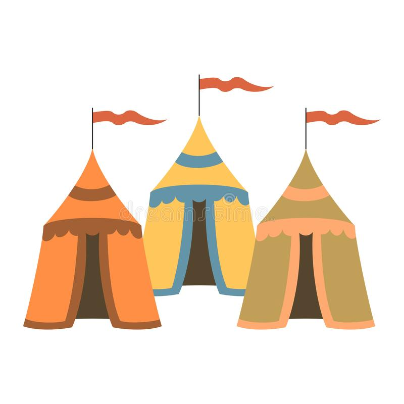 Cartoon medieval tents on white background. Vector illustration royalty free illustration