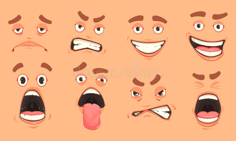 Cartoon Men Mouth Set. Men cute mouth eyes facial expressions gestures of surprise fear disgust sadness pleasure cartoon set vector illustration stock illustration