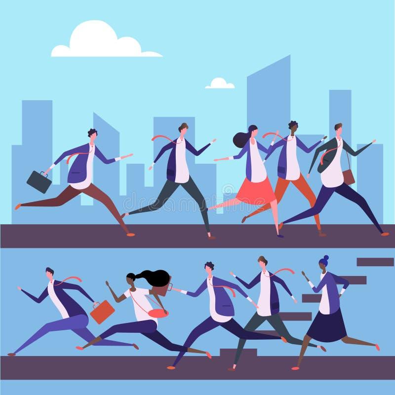 Cartoon men and women run to work vector illustration. Business success concept. Teamwork businessman and businesswoman run race stock illustration
