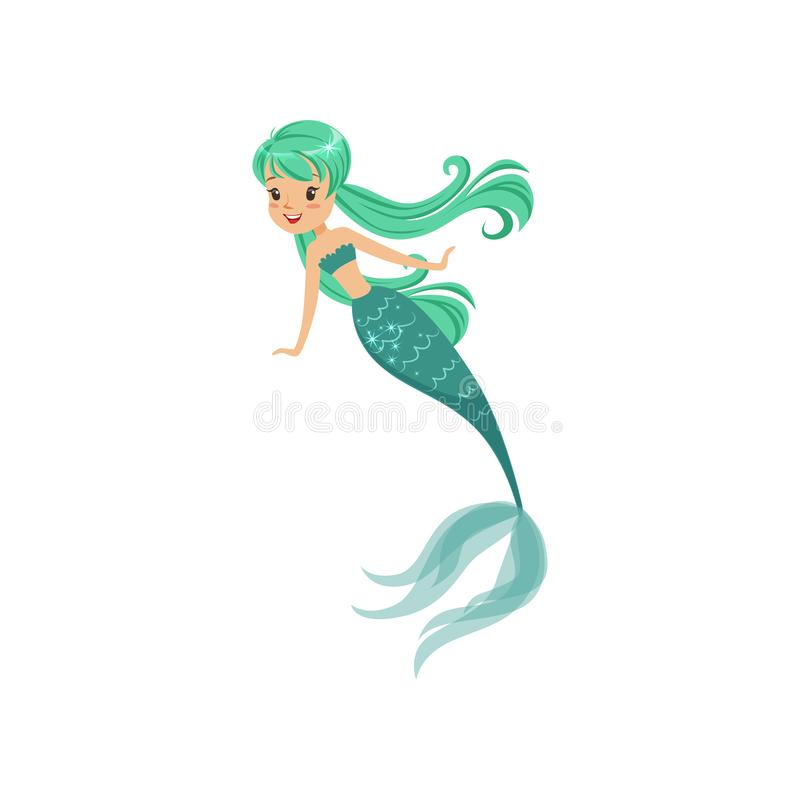 Cartoon mermaid girl character in flat style. Beautiful sea princess with long turquoise hair and shiny tail. Underwater. Life concept. Isolated vector vector illustration