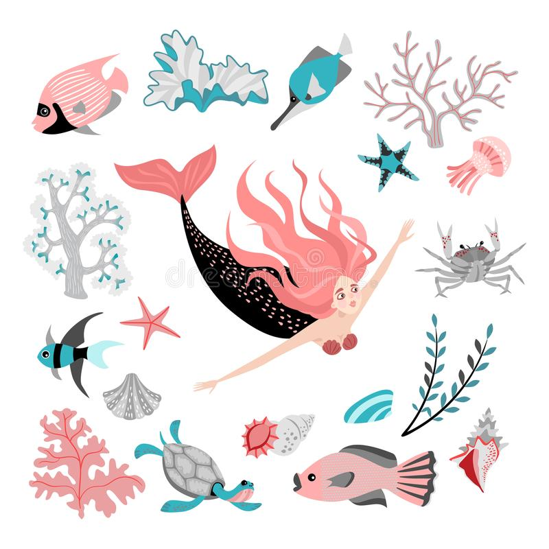 Cartoon mermaid surrounded by tropical fish, animal, seaweed and corals. Fairy tale character. Sea life. Set of cute isolated vector illustrations on white royalty free illustration