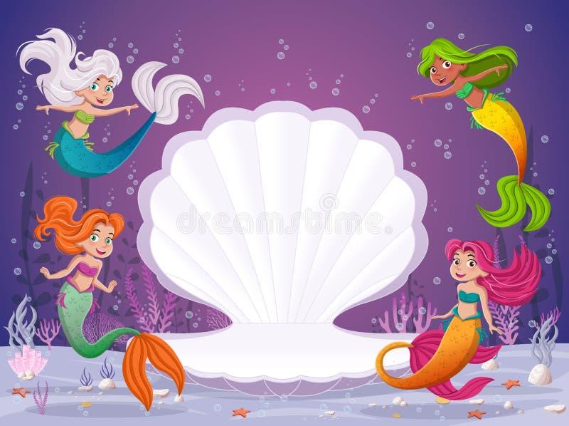 Cartoon mermaids swimming around open shell. vector illustration