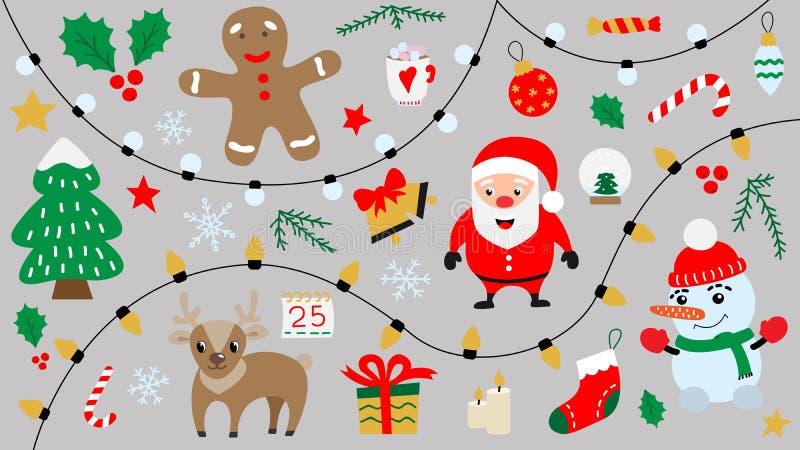 Cartoon Merry Christmas And Happy New Year Symbols Isolated Stock