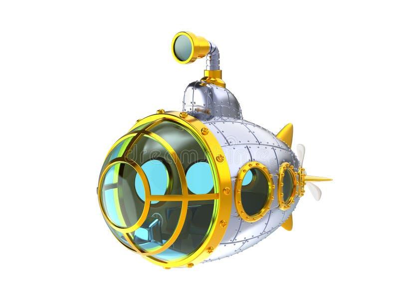 Cartoon metal submarine. Isolated on white. 3d illustration stock illustration