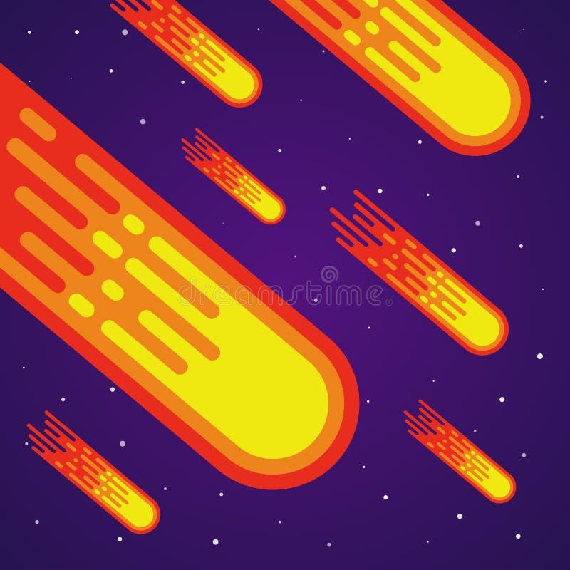 Cartoon meteor rain. Comets falling down. Vector meteorite vector illustration