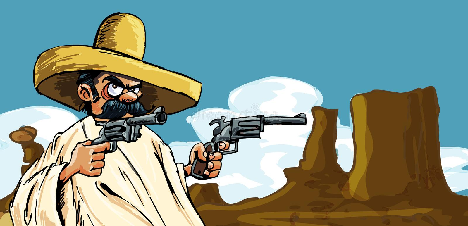 Download Cartoon Mexican In The Desert With Guns Stock Illustration - Image: 21823377