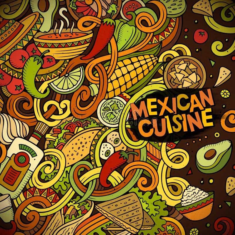 Cartoon Mexican Food Doodles Frame Design Stock Vector