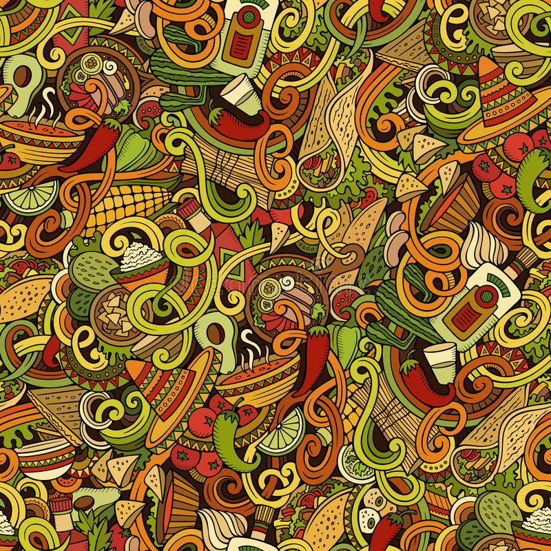 Cartoon mexican food doodles seamless pattern royalty free illustration