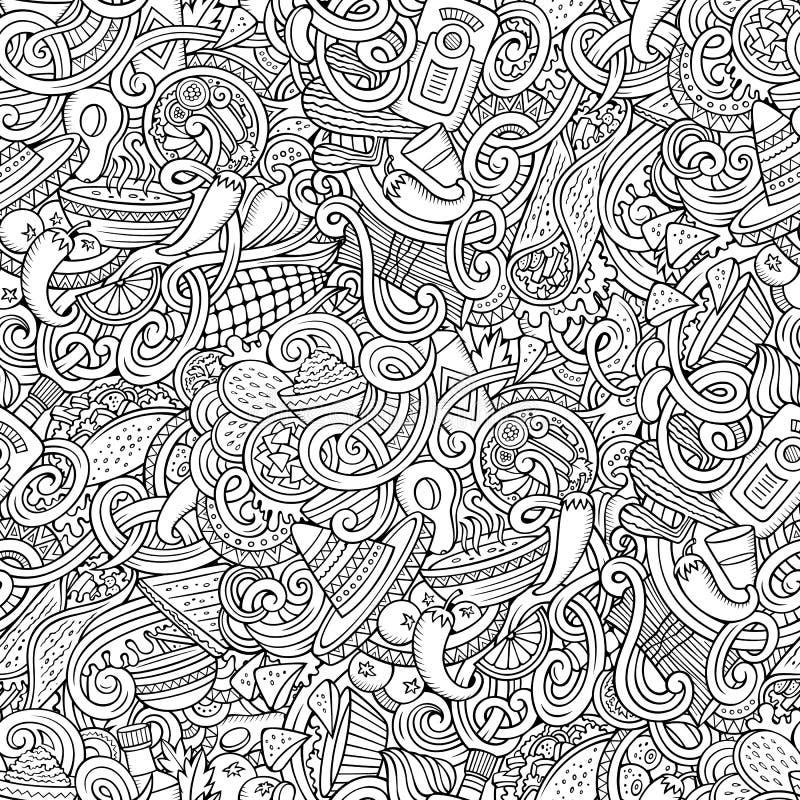 Cartoon mexican food doodles seamless pattern stock illustration