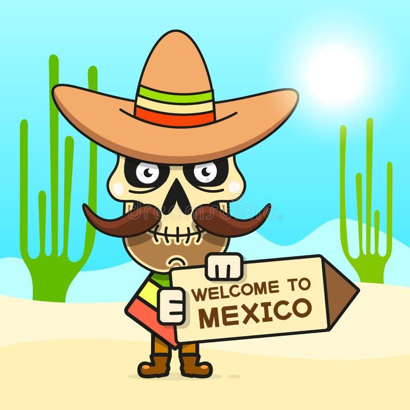 Cartoon Mexican Skull Vector Illustration For Dia De Los Muertos . Cute Male Skull. With Mustache And Sombrero Hat stock illustration