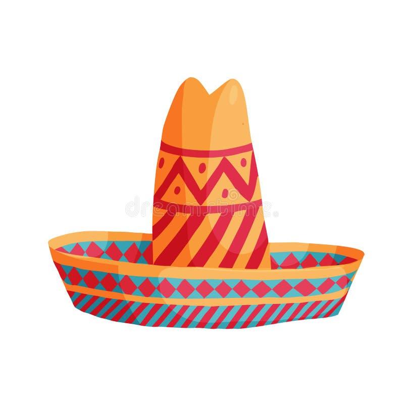 Cartoon mexican sombrero. Colourful cartoon mexican sombrero hat traditional vector illustration royalty free illustration