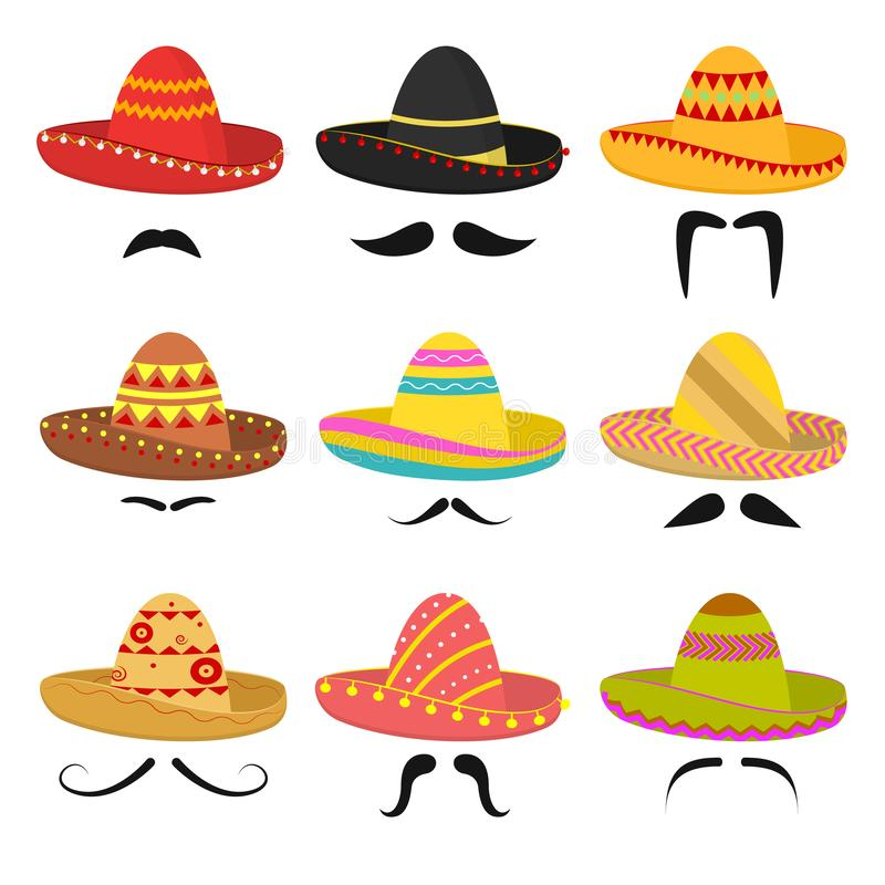 Cartoon Mexican Sombrero Hat Signs Icon Set. Vector stock illustration