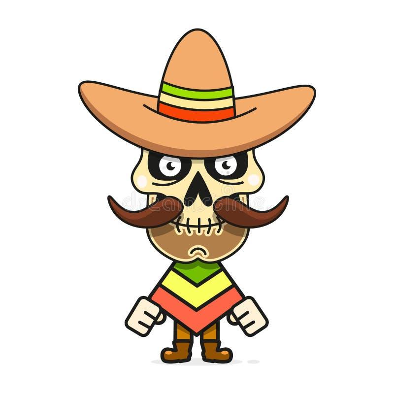 Cartoon Mexican Sugar Skull Vector Illustration For Dia De Los Muertos . Cute Male Skull. With Mustache And Sombrero Hat vector illustration