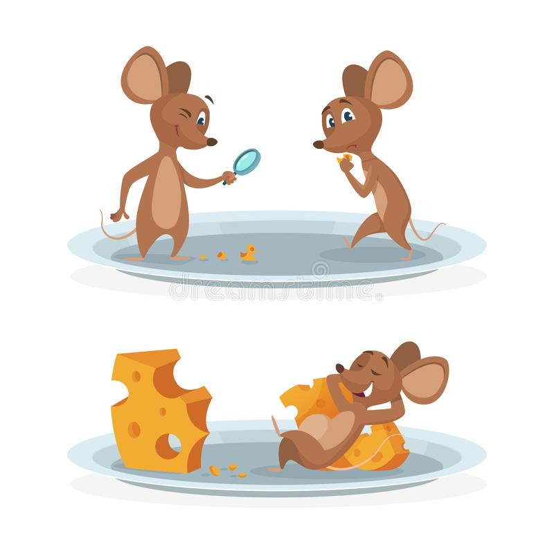 Cartoon mice on cheese plate vector illustration. Mouse with cheese isolated on white background vector illustration