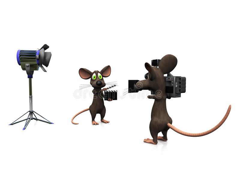 Cartoon mice filming. vector illustration