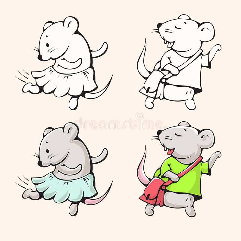 Cartoon mice. Illustration of funny cartoon mice. Hand-drawn illustration. Vector vector illustration