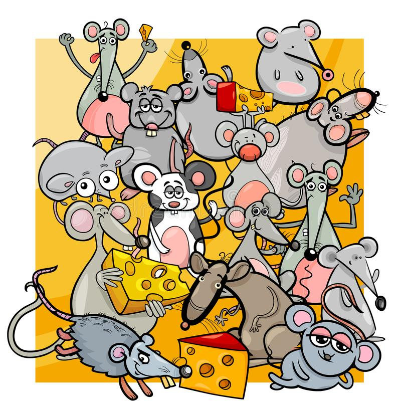Cartoon mice and rats with cheese royalty free illustration