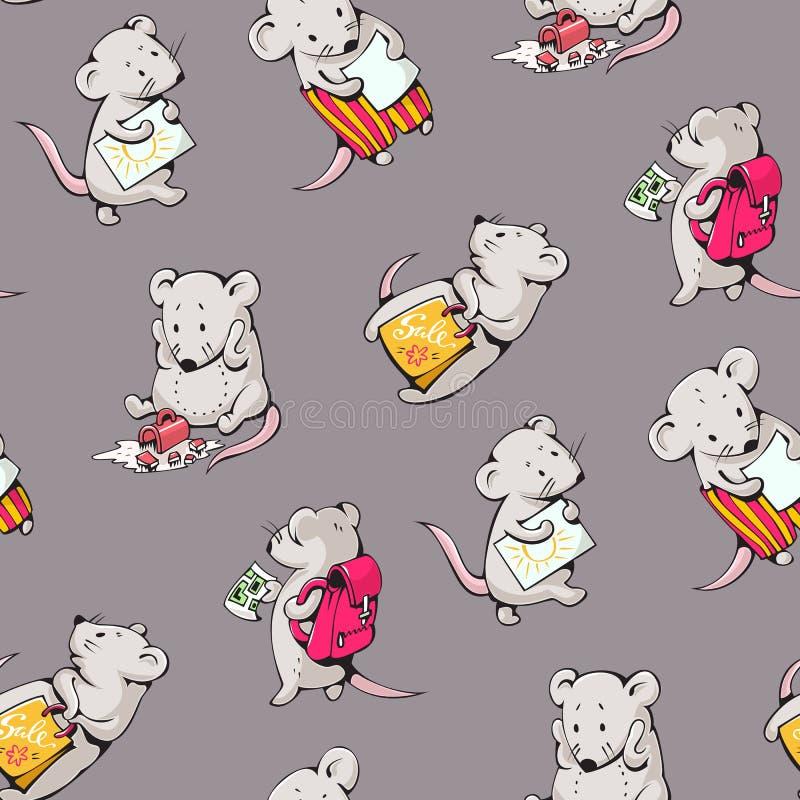 Cartoon mice. Seamless pattern - funny cartoon mice. Hand-drawn illustration. Vector royalty free illustration