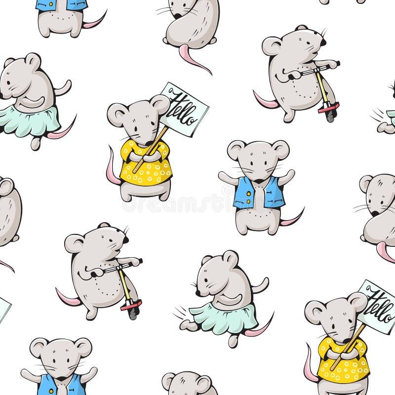 Cartoon mice. Seamless pattern - funny cartoon mice. Hand-drawn illustration. Vector stock illustration