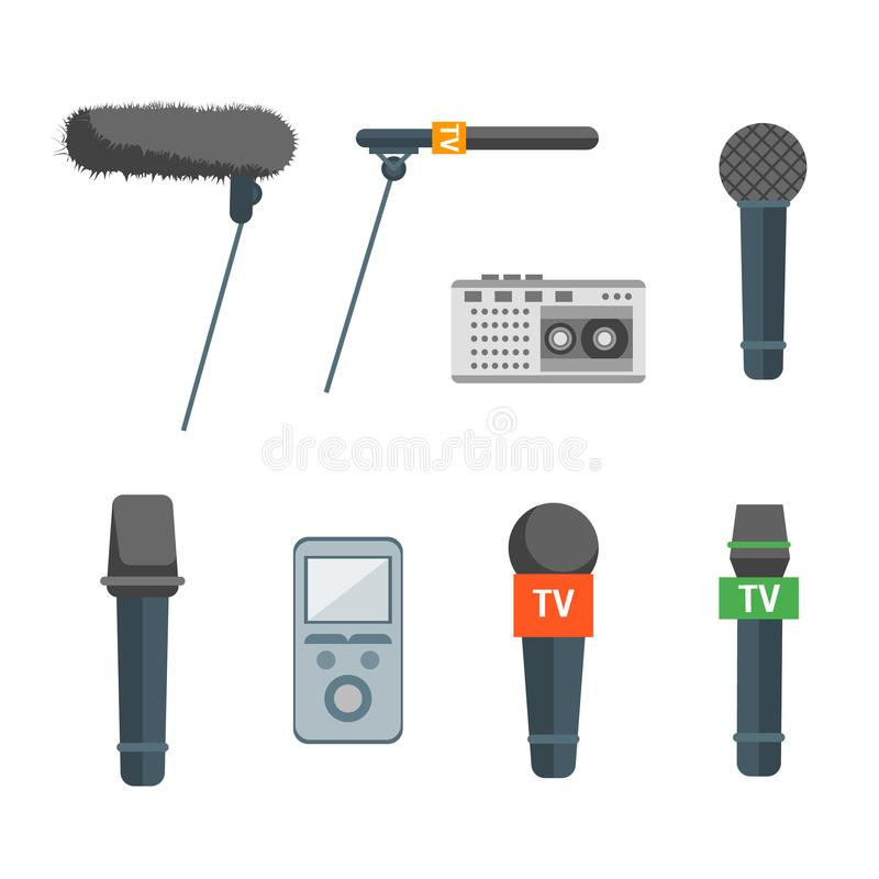 Cartoon Microphone Set Press Conference Element. Vector. Cartoon Microphone Set Press Conference Element News or Interviews Concept Flat Design Style. Vector stock illustration